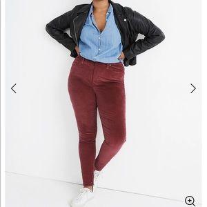 """NEW Madewell 10"""" High-Rise Velvet Skinny Jeans"""